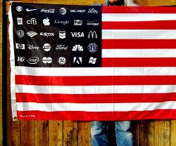 US flag, corporate logos, corporate america, corporate personhood