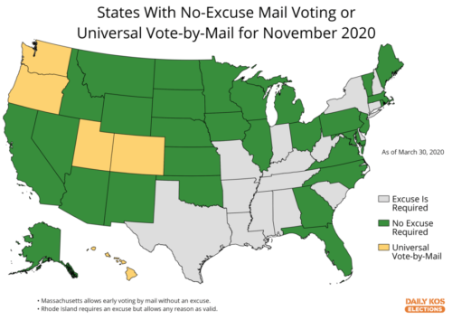 Map of states with mail-in voting